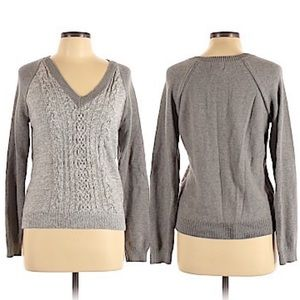Chaps Classic V-Neck Sweater Gray Size Large